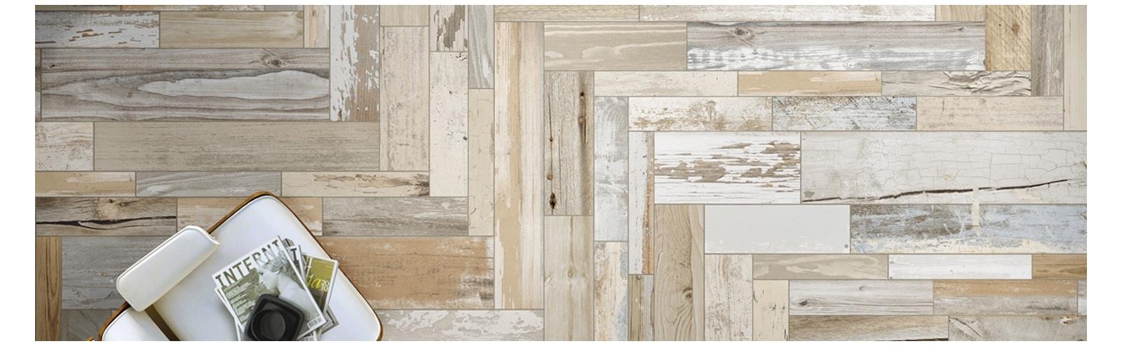 Houtlook vloertegel off white