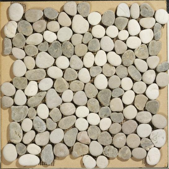 Badkamer Gordijn Rails ~ Beach Pebbles mix beige kiezelstenen op matje per m2 online bestellen