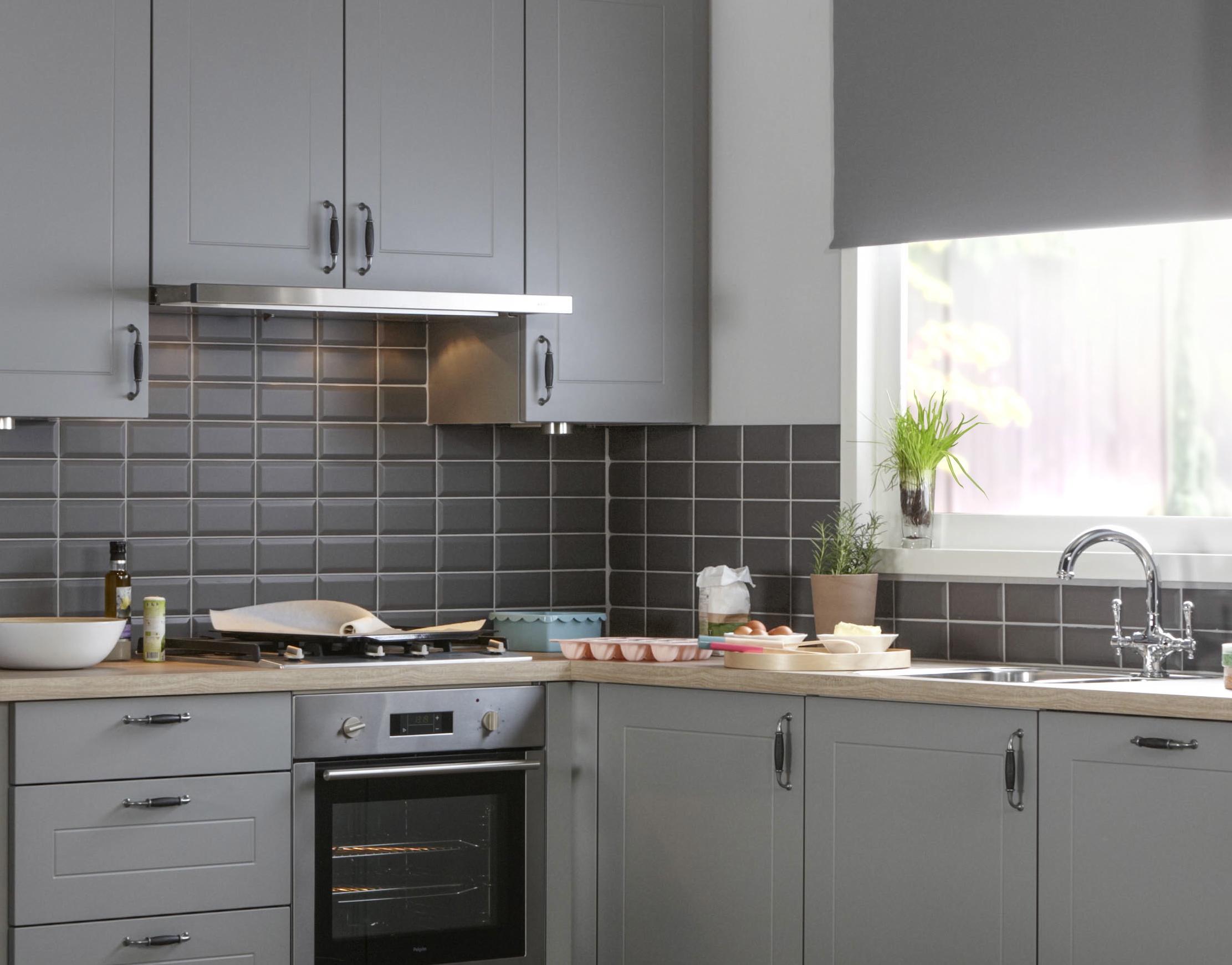 Bruynzeel bolton platinagrijs mat grijze metrotegel 7 5 x 15 2 cm per m2 online bestellen - Keuken tegel metro ...