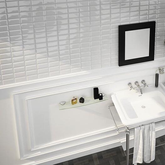 Metrotegel blanco wit glanzend 7 5 x 15 cm per m2 online bestellen tegelinfo - Tegel metro wit ...