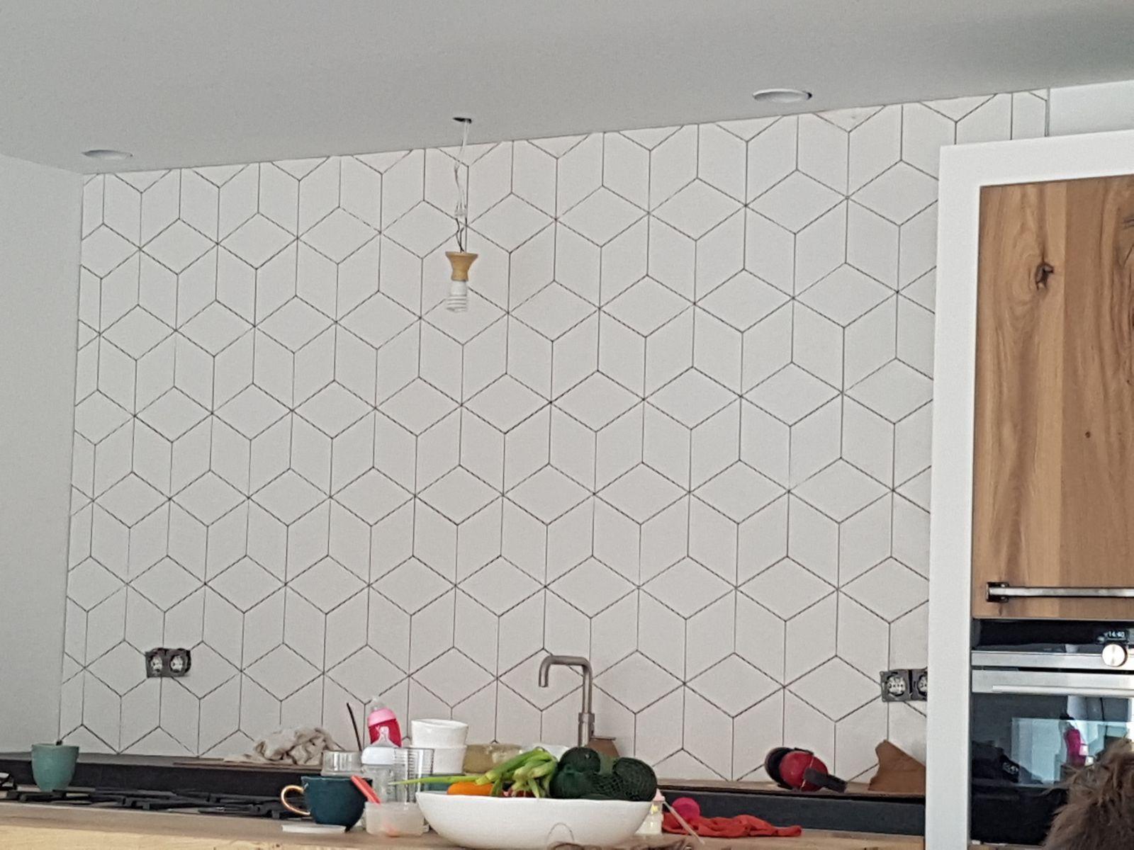 Hexagon Tegels Wit : Ruitvormig mat wit lichtgrijs wand en vloer tegel cm per