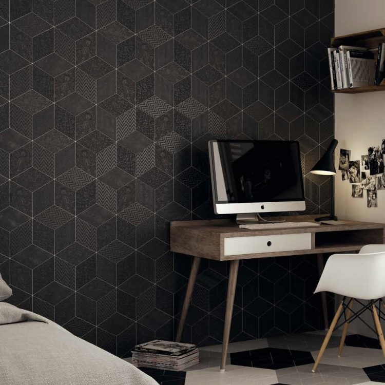Ruitvormig reliëf decor mat zwart wand- & vloertegel 14 x 24 cm per ...