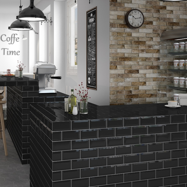 metrotegel zwart glanzend 7 5 x 15 cm per m2 online bestellen tegelinfo. Black Bedroom Furniture Sets. Home Design Ideas