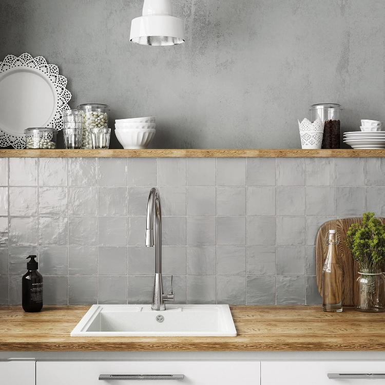 Houten Keuken Creative Kitchen Backsplash Ideas: Zellige Look Grijs 10 X 10 Cm Online Bestellen