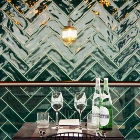 Half Tile Donkergroen Victorian Green 7 5 X 15 Cm Visgraat
