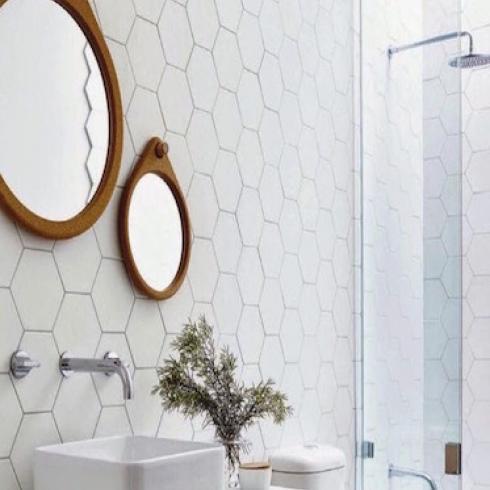 Hexagon Wit Lichtgrijs Mat Wand En Vloertegel 17 5 X 20