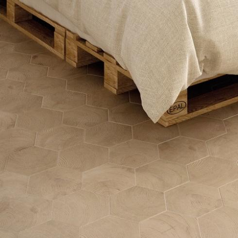 Hexagontegel houtlook naturel mat wand- en vloertegel 17,5 x 20 cm per m2