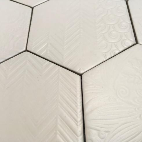 Hexagonaal mystiek wit 11,4 x 13 cm per 0,4 m2