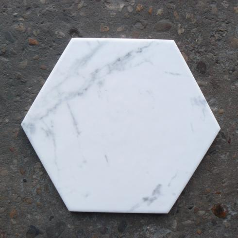 Hexagon wit mat marmerlook wand- en vloertegel 17,5 x 20 cm per m2