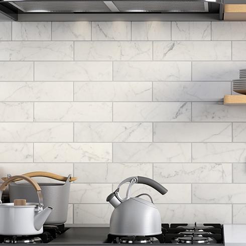 Marmer look half tile wit mat 7 5 x 30 cm per m2 online for Tegels zonder voeg