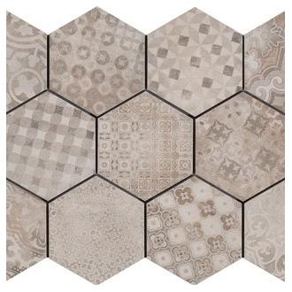 Hexagonaal Rewind beige decor 18,2 x 21 cm per m2