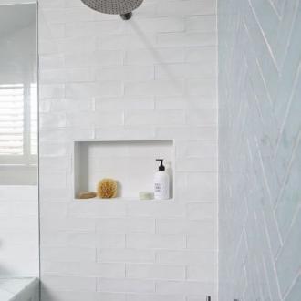 Badkamer Marmer Tegels.Visgraat Tegel